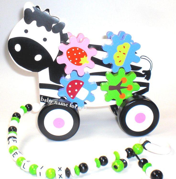Ziehtier   Nachziehtier Zebra Zahnrad  mit oder ohne Wunschname    Motorik Baby