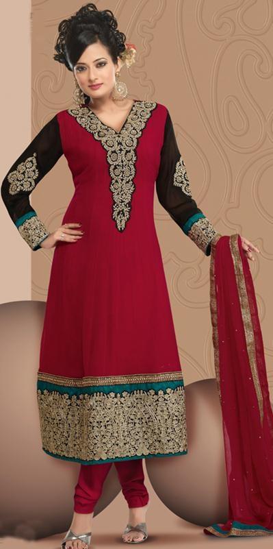 Maroon Faux Georgette Embroidery Anarkali Salwar Kameez