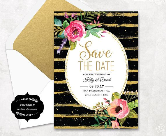 Save the Date Template Floral Save the Date Card Cheap Save