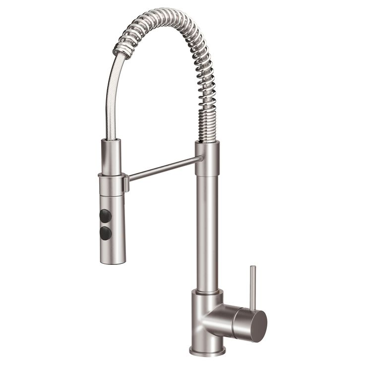 IKEA - VIMMERN, Kitchen faucet with handspray, , 10-year Limited Warranty. Read about the terms in the Limited Warranty brochure.You save water and energy, because the faucet has a mechanism that reduces water flow while maintaining pressure.The faucet insert has hard, durable ceramic discs that can handle the high friction that occurs when you change the temperature of the water.The faucet functions two ways, so you can switch between a concentrated stream and hand shower just by pushing…