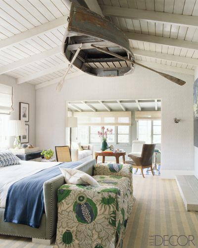 Row boat on the ceiling.  So cool, except I would make a light fixture out of it.