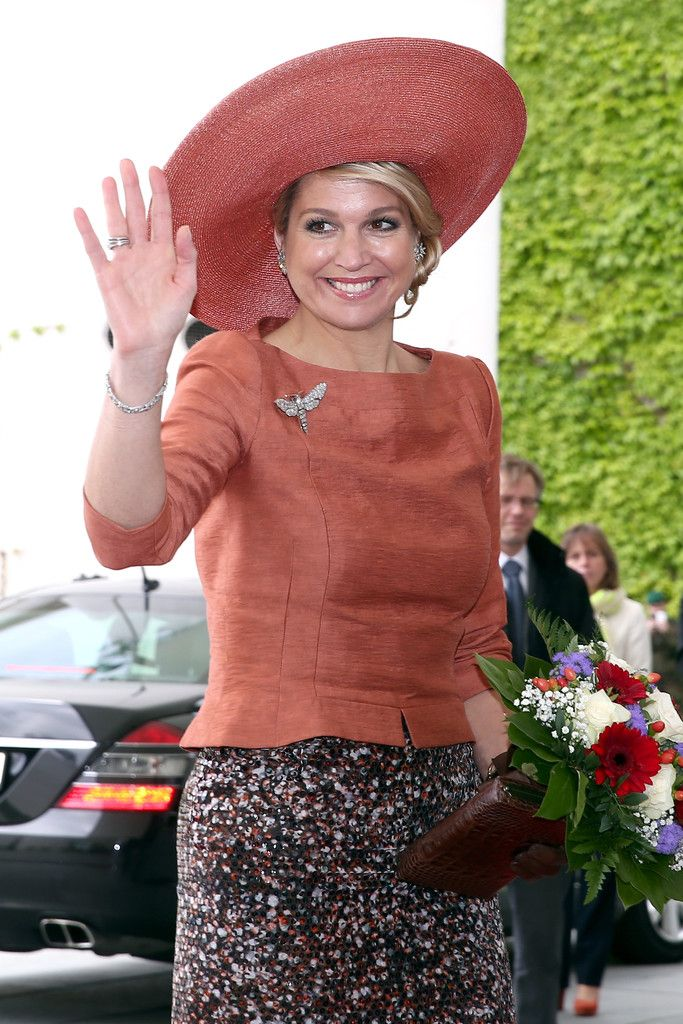 Queen Maxima of The Netherlands at a meeting with german Chancellor Angela Merkel at Chancellery (Bundeskanzleramt) on 3 June 2013 in Berlin, Germany