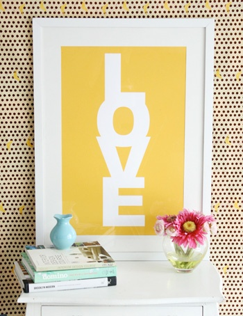 Yellow Love Poster from MadeByGirl. Love it.