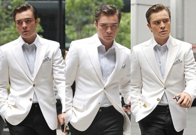 white dinner jacket done in a not-so-formal way #chuckbass