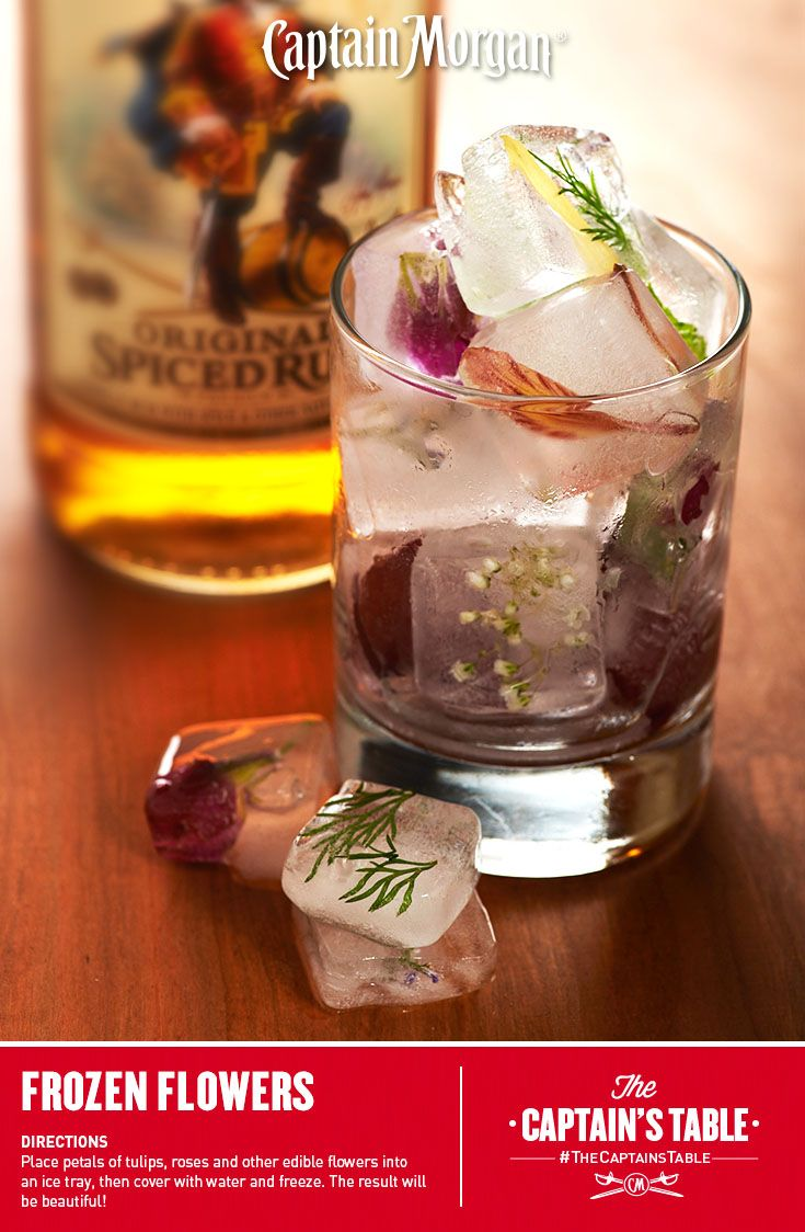 A touch of whimsy for your Valentine's cocktail.  #Captain #Morgan #decorative #icecubes #garnish #ideas #CaptainsTable