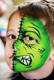 Half face Hulk or Frankenstein boy face painting