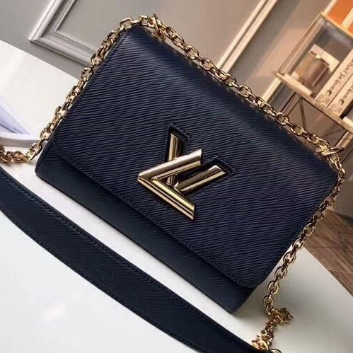 630b16738995 Louis Vuitton Epi Leather Twist MM Bag Indigo 2018 (Gold Hardware ...