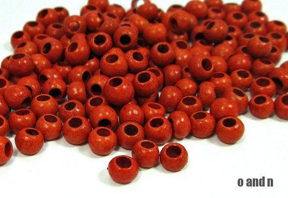 Round greek ceramic beads tangerine orange glossy finish. by OandN, $3.60 #beads #ceramicbeads #jewelrysupplies