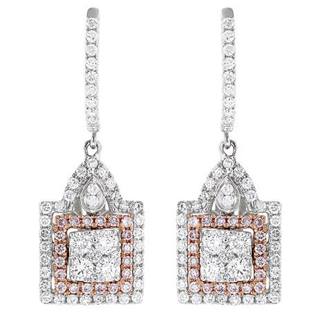 Luxurman 14k Two-tone Gold 1 3/4ct TDW and Pink Diamond Earrings