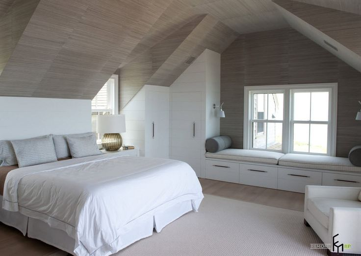 a stylish white bedroom with grey wooden ceiling and bay window with simply sofa…