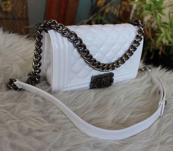 Tas Chanel Jelly Boy Black nikel Mini warna putih