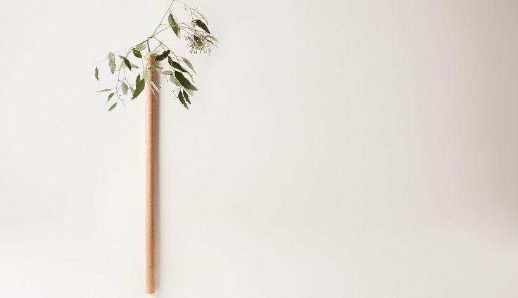 Takashi Tomii - Cylindrical Oak Hanging Flower Vase by Tomii Takashi