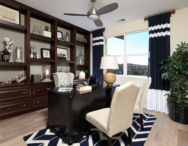 Masculine office with a homey feel. Great chevron rug! via @Shea Homes NoCal #chevron #office