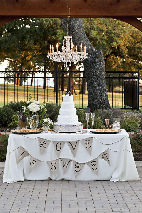 Maybe set up the dessert table under our chandelier beneath the  pergola.