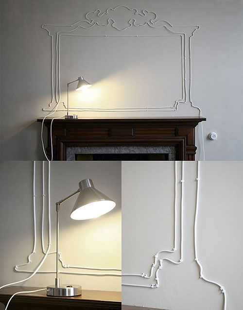 Frame silhouette made with cables. I would definitely electrocute myself if I attempted this...