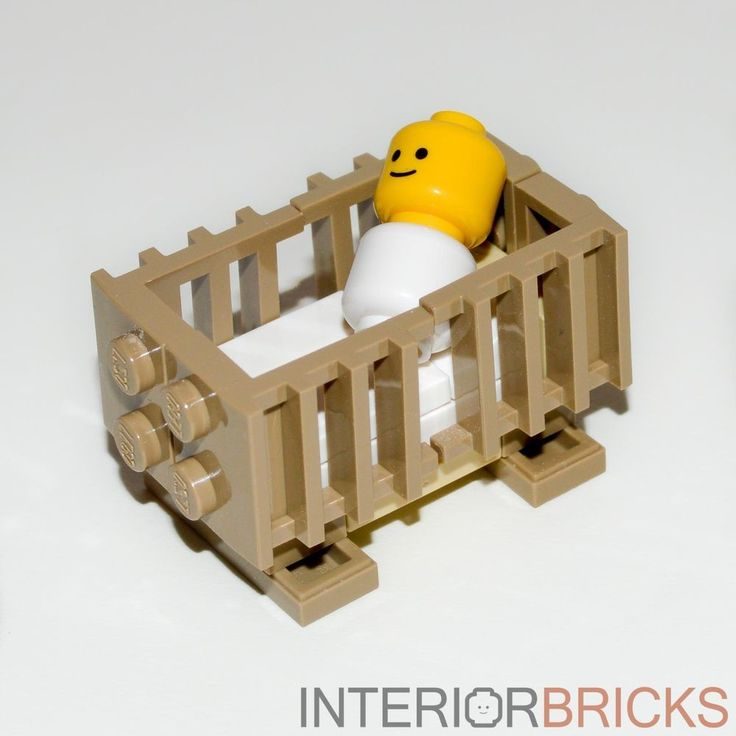 LEGO Furniture: Baby's Crib (Tan) - Baby Included! [custom,set,minifigure,house] #LEGO