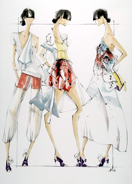 From Fashion Design Drawing Course book, Yves St Laurent