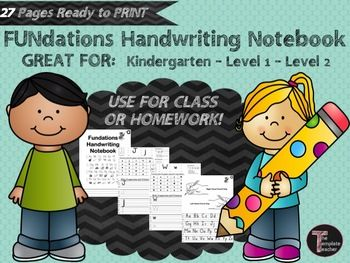 FUNdations Handwriting Notebook for Kindergarten, First or