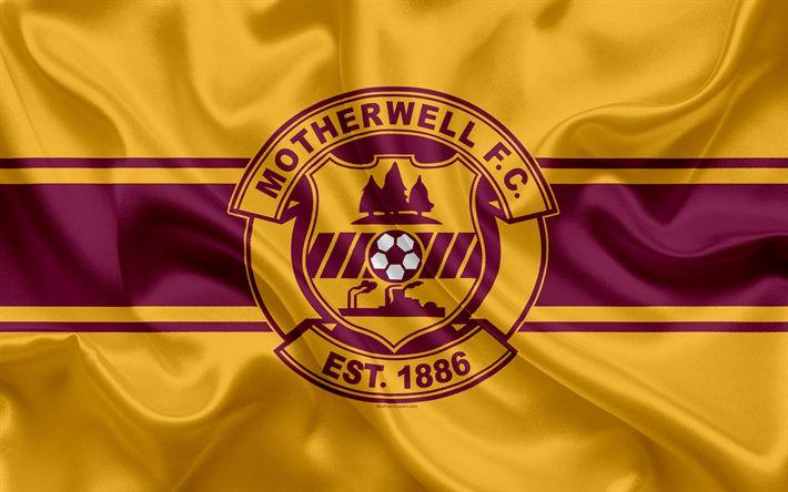 Download wallpapers Motherwell FC, Scottish Premiership, Scottish Football Club, 4K, logo, emblem, flag, football, Motherwell, United Kingdom, Scotland