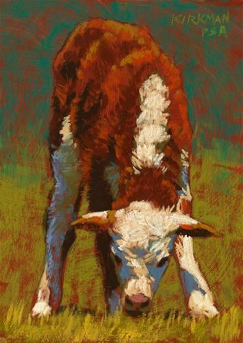 """Grazing Calf"" - Original Fine Art for Sale - © Rita Kirkman"