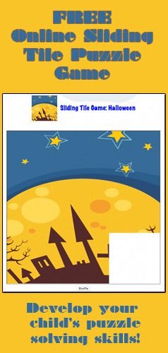 a free sliding tile game for kids press shuffle and then slide the pieces of - Free Online Halloween Games For Kids