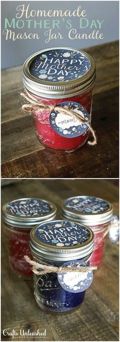 DIY Candle Mason Jar Mothers Day Gift