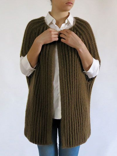 This comfortable and stretchy piece, knit in a Fisherman Rib technique, is somewhere between a wrap and a garment, which will make it truly stand out among the crowd. Knit 1,136 (1,136, 1,278) yds of #4 worsted-weight yarn at a gauge of 10 sts per 4&...