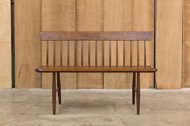 """Spindle Back Settee in Tiger Maple - Cinnamon finish Classic Shaker design Solid wood, signed and dated by the cabinetmaker 48""""wide x 15-1/2""""deep x 32-1/2""""high"""