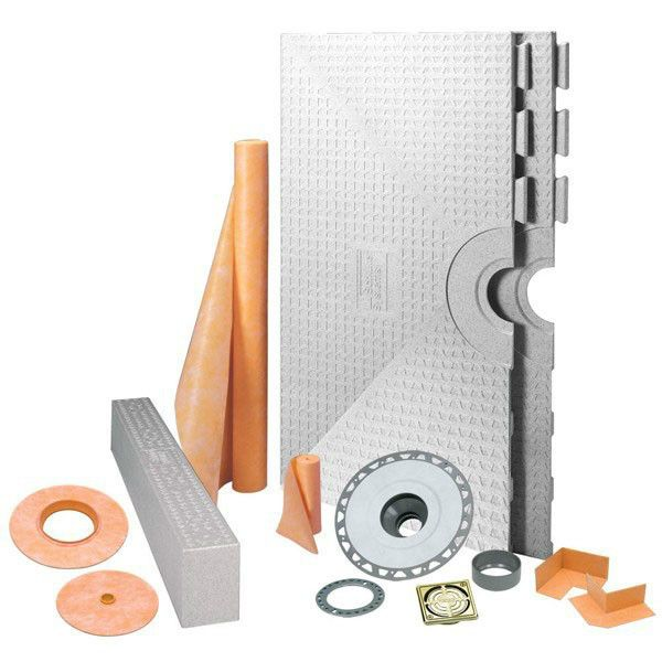 Schluter Kerdi Shower Kit Center Drain Tray Brushed Brass Anodized Aluminum Pvc Flange 48x48