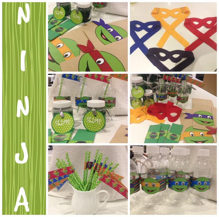 Ninja Turtle party supplies - party packs, slime, masks and bottles. Made by Such Fun...www.suchfun.co.za