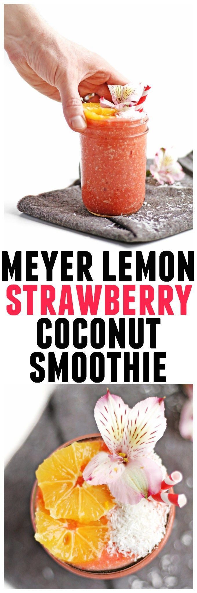 This tropical, refreshing meyer lemon strawberry smoothie with coconut includes an entire meyer lemon. A no waste recipe! Vegan, gluten free, clean eating, sugar free, dairy free, amazing. // Rhubarbarians #vegansmoothie