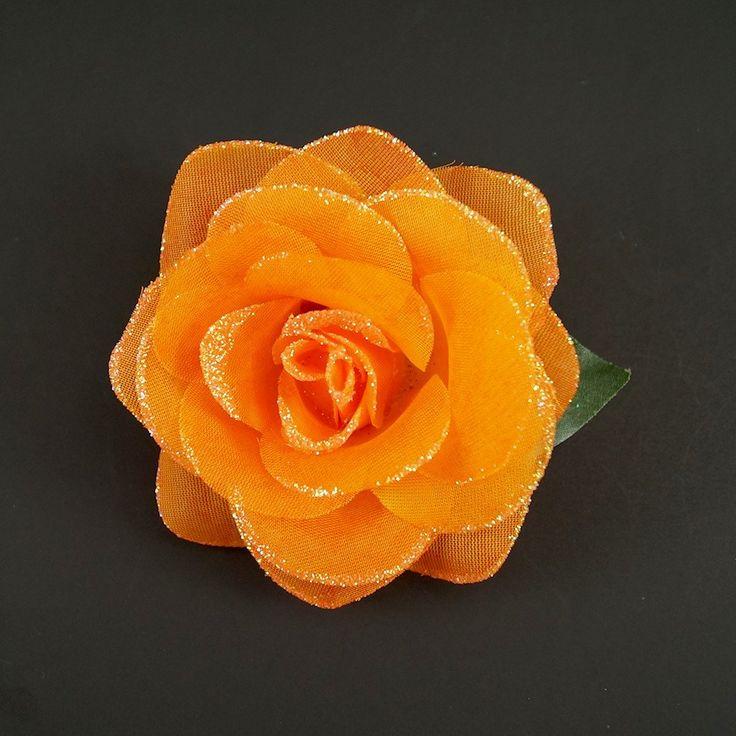 Orange Glitter Rose Hair Flower