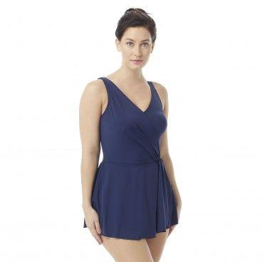c9c7c5db180d3 Roxanne Bra Sized Shirred One Piece Swimdress - Solids