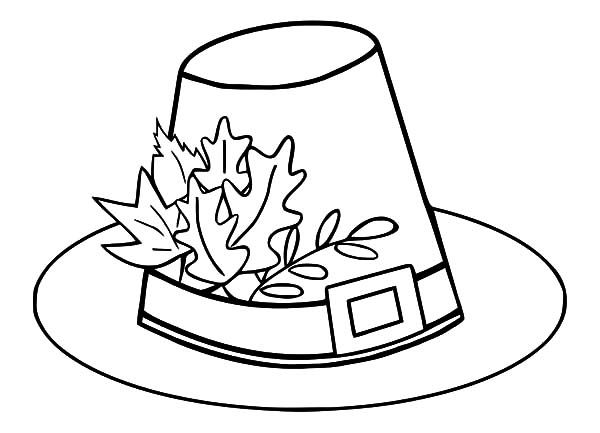 Hat Pilgrim Hat With Autumn Leaves Coloring Pages Thanksgiving Coloring Pages Leaf Coloring Page Coloring Pictures For Kids