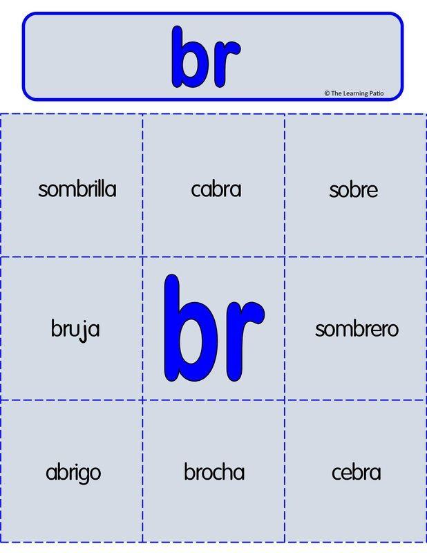 Juego de lotería/ tarjetas de vocabulario para las sílabas trabadas- Añadiremos  juegos interactivos