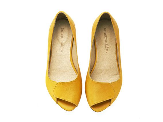 Aya peep toe yellow leather handmade flats by TamarShalem on Etsy