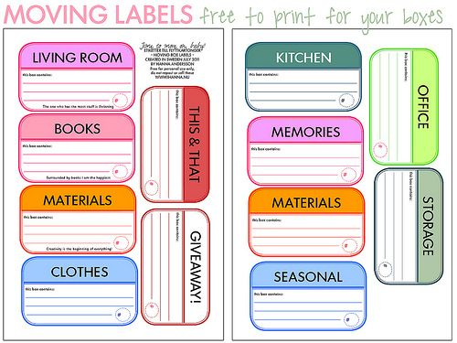 Download and print these free Moving Box Labels, so you can stay organized when you're moving houses!