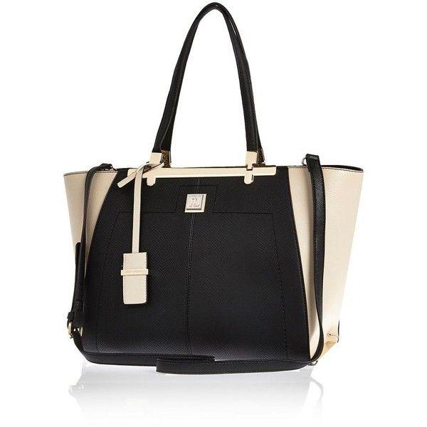River Island Black textured winged tote handbag (1,605 EGP) ❤ liked on Polyvore featuring bags, handbags, tote bags, bags / purses, black, shoppers / tote bags, women, man tote bag, wing tote and shopping tote