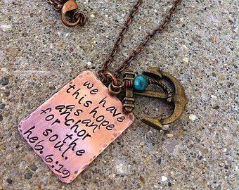 Mano ancla collar estampado cobre latón Hebreos 6:19 espero como un ancla