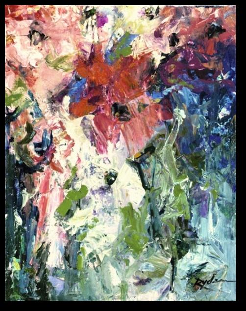 "Conn Ryder, Botanic Jazz  11"" x  14"" Acrylic & collage on  canvas"