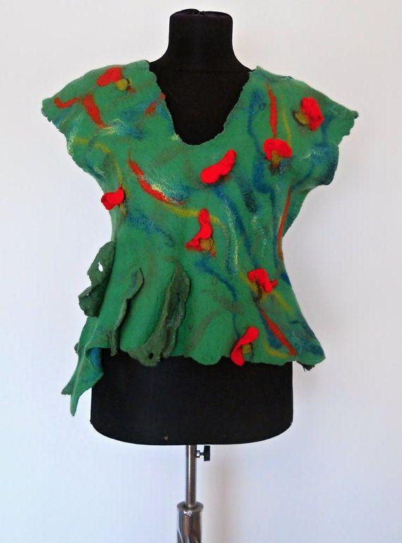 Green Blouse  Fantasy top  Felt clothing   by FeltNunoFelted