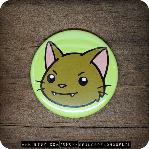2.25 inches Cute cat  Button  Magnet  Pocket by FranceDeLongueuil