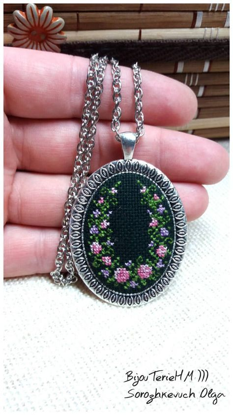 Cross stitch necklace and earr