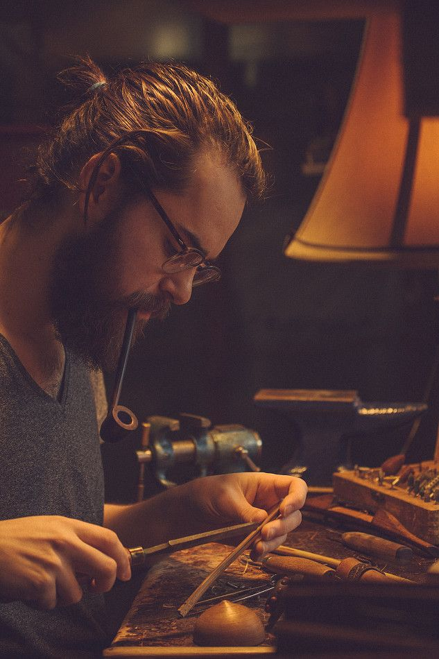 Beards. Men. Craftsman. Pipe.
