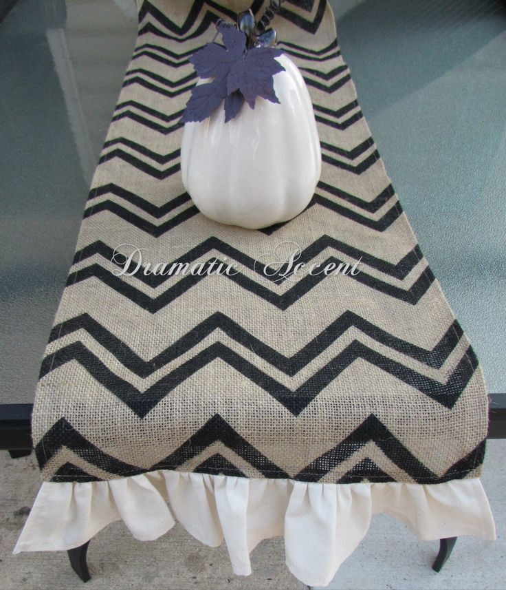 """Burlap Chevron Table Runner with ruffled bottom, Vintage, Extra long Table Runner, 60"""", 72"""", 90, 102"""" -Wedding, entertaining table accent by dramaticaccent1 on Etsy https://www.etsy.com/listing/179198735/burlap-chevron-table-runner-with-ruffled"""