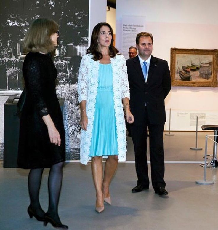 Crown Princess Mary attended preview of the French painter Monet exhibition at Ordrupgaard Museum in Charlottenlund in Denmark 24 Aug 2016