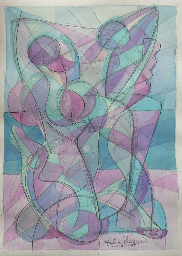 Dance - acrilico su cartoncino, 70 x 50