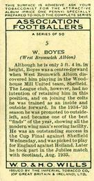 1935-36 W.D. & H.O. Wills Association Footballers #5 Walter Boyes  Back