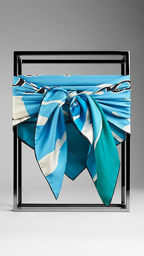 Burberry Bright Sky Blue Landscapes Print Silk Square - A silk square scarf featuring an illustrative print. Inspired by vintage book covers, the artwork is painted by hand before being screen-printed onto the lightweight fabric. Discover the scarves collection at Burberry.com