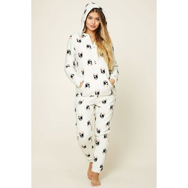 Forever21 Holiday Dog Print PJ Jumpsuit ($25) ❤ liked on Polyvore featuring jumpsuits, cocktail jumpsuit, dog jumpsuit, white jump suit, white jumpsuit and white long sleeve jumpsuit